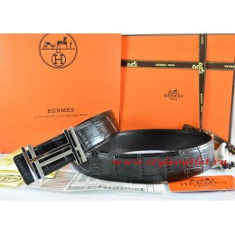 Hermes Black/Black Crocodile Stripe Leather Reversible Belt 18K Silver H au Carre Buckle