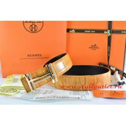 Hermes Orange/Black Crocodile Stripe Leather Reversible Belt 18K Gold H au Carre Buckle