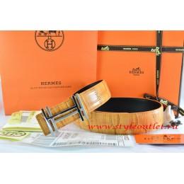 Hermes Orange/Black Crocodile Stripe Leather Reversible Belt 18K Silver H au Carre Buckle