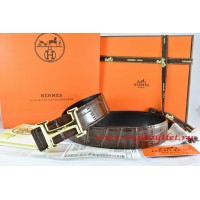 Hermes Brown/Black Crocodile Stripe Leather Reversible Belt 18K Gold Idem With Logo Buckle