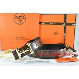 Hermes Brown/Black Crocodile Stripe Leather Reversible Belt 18K Gold Idem With Logo Buckle