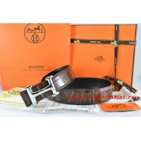 Hermes Brown/Black Crocodile Stripe Leather Reversible Belt 18K Silver Idem With Logo Buckle