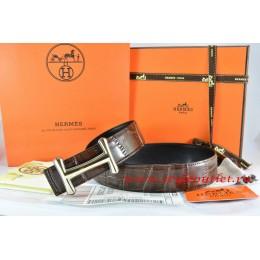 Hermes Brown/Black Crocodile Stripe Leather Reversible Belt 18K Gold Idem Buckle