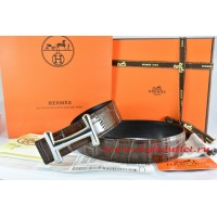 Hermes Brown/Black Crocodile Stripe Leather Reversible Belt 18K Black Gold Idem Buckle