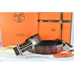 Hermes Brown/Black Crocodile Stripe Leather Reversible Belt 18K Silver Idem Buckle