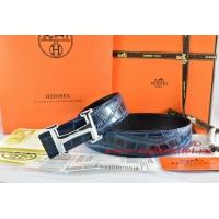 Hermes Blue/Black Crocodile Stripe Leather Reversible Belt 18K Silver Idem With Logo Buckle