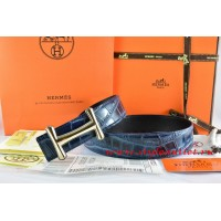 Hermes Blue/Black Crocodile Stripe Leather Reversible Belt 18K Gold Idem Buckle