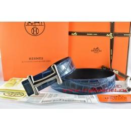 Hermes Blue/Black Crocodile Stripe Leather Reversible Belt 18K Black Gold Idem Buckle