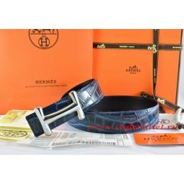Hermes Blue/Black Crocodile Stripe Leather Reversible Belt 18K Silver Idem Buckle