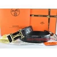 Hermes Black/Black Crocodile Stripe Leather Reversible Belt 18K Gold Idem With Logo Buckle
