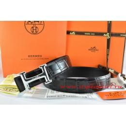 Hermes Black/Black Crocodile Stripe Leather Reversible Belt 18K Silver Idem With Logo Buckle