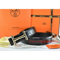 Hermes Black/Black Crocodile Stripe Leather Reversible Belt 18K Gold Idem Buckle
