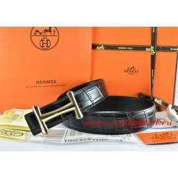 Hermes Black/Black Crocodile Stripe Leather Reversible Belt 18K Gold Idem Buckle