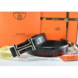 Hermes Black/Black Crocodile Stripe Leather Reversible Belt 18K Black Gold Idem Buckle