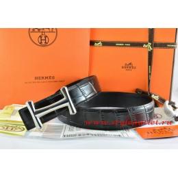 Hermes Black/Black Crocodile Stripe Leather Reversible Belt 18K Silver Idem Buckle
