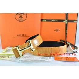 Hermes Orange/Black Crocodile Stripe Leather Reversible Belt 18K Gold Idem With Logo Buckle