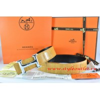 Hermes Orange/Black Crocodile Stripe Leather Reversible Belt 18K Silver Idem With Logo Buckle