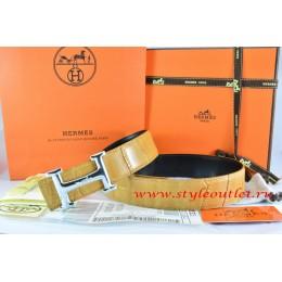 Hermes Orange/Black Crocodile Stripe Leather Reversible Belt 18K Silver Idem With Logo Buckle