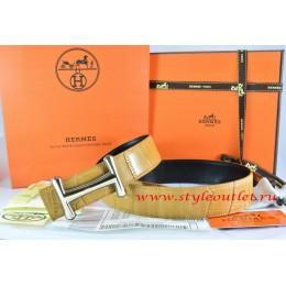 Hermes Orange/Black Crocodile Stripe Leather Reversible Belt 18K Gold Idem Buckle