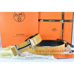 Hermes Orange/Black Crocodile Stripe Leather Reversible Belt 18K Orange Gold Idem Buckle