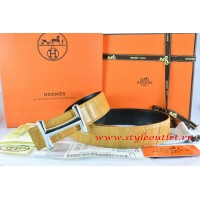 Hermes Orange/Black Crocodile Stripe Leather Reversible Belt 18K Silver Idem Buckle