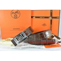 Hermes Brown/Black Crocodile Stripe Leather Reversible Belt 18K Silver Big H Buckle