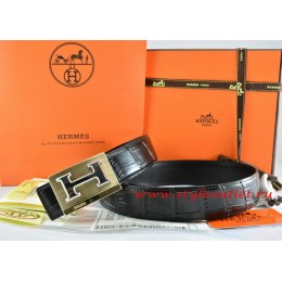 Hermes Black/Black Crocodile Stripe Leather Reversible Belt 18K Gold Big H Buckle