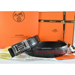 Hermes Black/Black Crocodile Stripe Leather Reversible Belt 18K Silver Big H Buckle