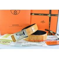 Hermes Orange/Black Crocodile Stripe Leather Reversible Belt 18K Gold Big H Buckle