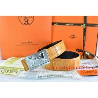 Hermes Orange/Black Crocodile Stripe Leather Reversible Belt 18K Silver Big H Buckle