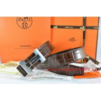 Hermes Brown/Black Crocodile Stripe Leather Reversible Belt 18K Silver H Logo Buckle