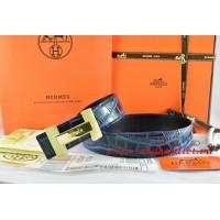 Hermes Blue/Black Crocodile Stripe Leather Reversible Belt 18K Gold H Logo Buckle