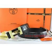 Hermes Black/Black Crocodile Stripe Leather Reversible Belt 18K Gold H Logo Buckle