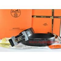 Hermes Black/Black Crocodile Stripe Leather Reversible Belt 18K Silver H Logo Buckle
