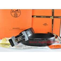 Hermes Black/Black Crocodile Stripe Leather Reversible Belt 18K Silver H Logo Buckle