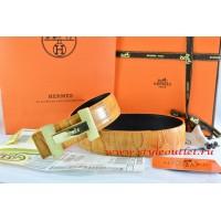 Hermes Orange/Black Crocodile Stripe Leather Reversible Belt 18K Gold H Logo Buckle