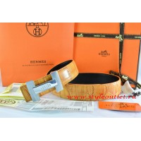 Hermes Orange/Black Crocodile Stripe Leather Reversible Belt 18K Silver H Logo Buckle