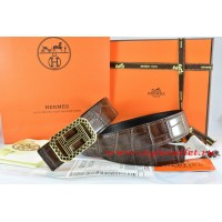 Hermes Brown/Black Crocodile Stripe Leather Reversible Belt 18K Gold Lace Strip H Buckle