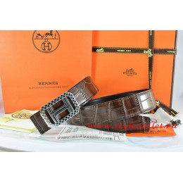 Hermes Brown/Black Crocodile Stripe Leather Reversible Belt 18K Silver Lace Strip H Buckle