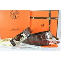 Hermes Brown/Black Crocodile Stripe Leather Reversible Belt 18K Gold Coach Buckle