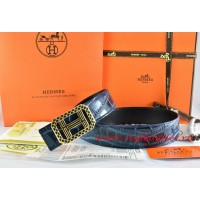 Hermes Blue/Black Crocodile Stripe Leather Reversible Belt 18K Gold Lace Strip H Buckle