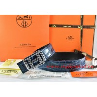 Hermes Blue/Black Crocodile Stripe Leather Reversible Belt 18K Silver Lace Strip H Buckle