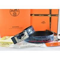 Hermes Blue/Black Crocodile Stripe Leather Reversible Belt 18K Silver Coach Buckle