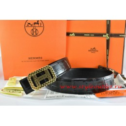 Hermes Black/Black Crocodile Stripe Leather Reversible Belt 18K Gold Lace Strip H Buckle