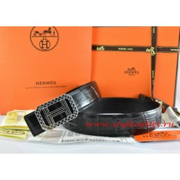 Hermes Black/Black Crocodile Stripe Leather Reversible Belt 18K Silver Lace Strip H Buckle