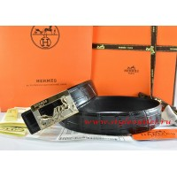 Hermes Black/Black Crocodile Stripe Leather Reversible Belt 18K Gold Coach Buckle
