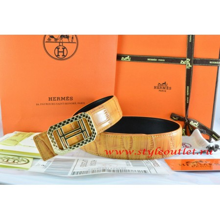 Hermes Orange/Orange Crocodile Stripe Leather Reversible Belt 18K Gold Lace Strip H Buckle