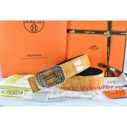 Hermes Orange/Orange Crocodile Stripe Leather Reversible Belt 18K Silver Lace Strip H Buckle