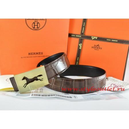 Hermes Brown/Black Crocodile Stripe Leather Reversible Belt 18K Gold Hollow Horse Buckle