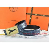 Hermes Blue/Black Crocodile Stripe Leather Reversible Belt 18K Gold Hollow Horse Buckle